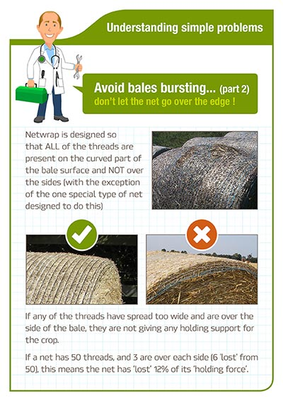 Understanding simple problems Avoid bales bursting Dont_let the net go over the edge
